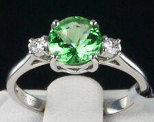 1.52cts Genuine Tsavorite Garnet with Diamonds 18k Solid White Gold Ring, Size 7
