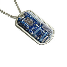 Blue Computer Motherboard - Processor CPU Memory - Military Dog Tag Keychain