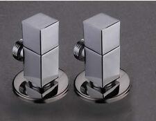 "2x Polished Chrome Brass Bathroom Angle Stop Valve 1/2"" Male x 1/2"" Male Thread"