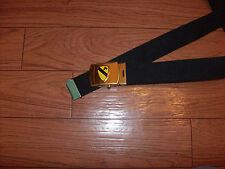 U.S MILITARY STYLE BLACK WEB BELT WITH 1ST CAVALRY BRASS BUCKLE