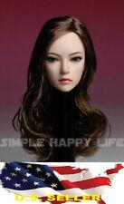 1/6 European female head sculpt long brown hair SDH002 for hot toys Phicen USA