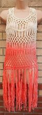 LABEL BE CREAM ORANGE CUT OUT KNIT CROCHET TASSEL FRINGE TUNIC CAMI TOP 16 18