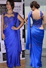 Uk Stock- Indian Pakistani Partywear Bollywood actress Sophie Royal Blue Saree