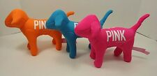 3 Victoria Secret Plush Pink Dog NEON ORANGE BLUE PINK 1986