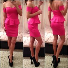 Womens Gorgeous Pink Peplum Sexy Bodycon Unique  Dress In Sz UK 10