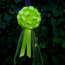 6 Citrus Lime Green Pull Bows Tulle Tails Wedding Pew Chair Bouquet Decorations