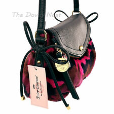 JUICY COUTURE Faux FUR PINK & BLACK Camouflage CROSSBODY BAG Crown & Bows PURSE