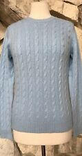 NWT Kirkland Signature Blue 100% Cashmere Long Sleeve Cable Knit Sweater Sz M