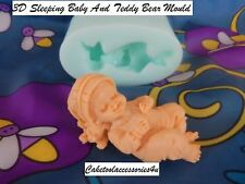 Sleeping Baby Teddy Bear Silicone Fondant Mould Cake Decorating Chocolate Baking