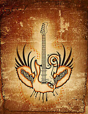 Grunge Winged Guitar-6'W by 8'H-Wall Mural