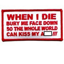 BURY ME FACE DOWN RED EMBROIDERED BIKER PATCH