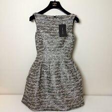 New Woman Zara Silver Metallic Structured Tulip Tweed Boucle Mini Dress  XS