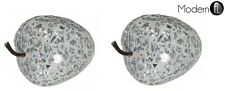 2x SILVER MOSAIC STRAWBERRIES, MOSAIC CRACKLE GLASS FRUIT, MOSAIC HOME DECOR