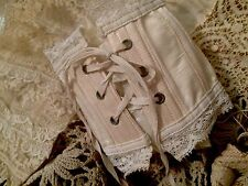 Antique French Dolls Corset Doll Lace Trim Boned Silky Costume Art #A