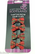 Red Tartan bow hair clips dispatched same day