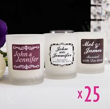 25x Personalised Frosted Votive Holders Wedding Favour Decoration with Candle