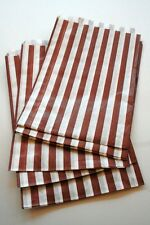 "100 Traditional Sweet Shop 5"" x 7"" Candy Striped Paper Bags - Choose Your Color"