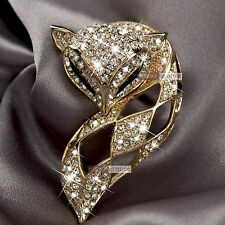 18k rose gold gp genuine SWAROVSKI crystal fox filigree brooch