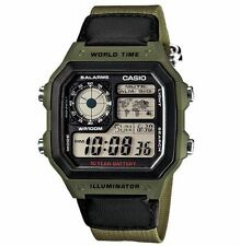 Casio Men's Core AE-1200WHB-3BVDF Green Nylon Quartz Watch with Digital Dial
