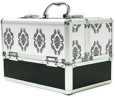Large White Aluminium Beauty Damask Cosmetic Box Nail Make Up Vanity Salon Case