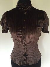 Femmes rétro vintage polyester velours marron ajusté femme taille 10 par west one