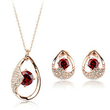 18K ROSE GOLD PLATED GENUINE CZ & AUSTRIAN CRYSTAL RED NECKLACE & EARRING SET
