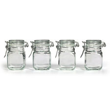 3oz Square Glass Jar w/ Hinge Glass Lid  Set of 4 Canisters Storage Clear NEW