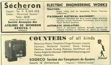 1953 Secheron Electric Engineering Works Geneva Sodeco Counters Of All Kinds Ad