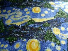 Fabric STARRY NIGHT Tribute to Vincent Van Gogh Impressionist ART RARE BTY