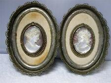 Pair of Silver Plate Filigree  Wall Hangings w/ Genuine Shell Carved Cameos