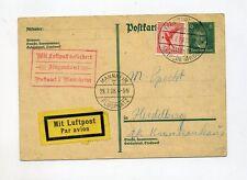 1928 Dt. Reich GA 8 Pf P 176 Zusatzfrank. MI 379 per Luftpost Frankfurt Mannheim