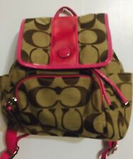 NWOT Coach F21928 Pink / Khaki Back pack Bag