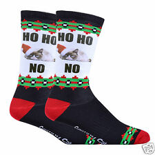 K.Bell Men's Pair Socks Grumpy Cat Ho Ho No Christmas Socks Black Wht Red New