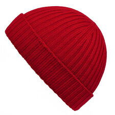 Mens Ladies 100% Fine Merino Wool Ribbed Turn Up Beanie Hat Hats Made in England