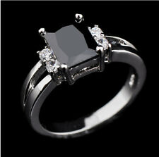 Women's Black Sapphire White Gold Filled Wedding Band Ring Size 5/6/7/8/9/10