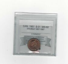 **1967 Dbl Reverse** Coin Mart Graded Canadian Small One Cent, **MS-62**
