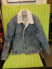 Levis authentic winter Trucker Blue Jean Denim fur lined Sherpa Jacket