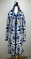 XS FOREVER 21 Sweater Coat Blue Ivory Southwestern Long Hooded Aztec