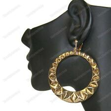 "3""long CLIP ON HOOP EARRINGS pyramid GOLD FASHION aztec RETRO bamboo hoops CLIPS"