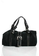 FENDI Black Herringbone Canvas Silver Tone Leather Trim Satchel Handbag