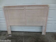 Faux Bamboo Queen Size Headboard Hollywood Regency Mid-century Rattan Wicker MCM