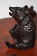 BLACK FOREST BEAR WOOD HAND CARVED TOBACCO JAR BOX WOODEN
