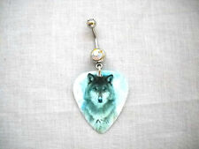 NEW WINTER SNOW GRAY WOLF ANIMAL GUITAR PICK ON 14g BOREALIS CZ BELLY RING BAR