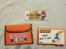 1983 Smurf Magic Rub-It-Ups 1982 Imperial Wallet Puffy Sticker License Plate Lot
