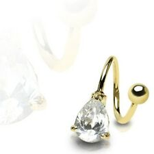Gold Plated Surgical Steel Twister Prong Set CZ Teardrop Belly Bar / Navel Ring