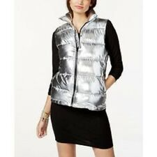 NWT Material Girl Active Juniors Puffer Vest Silver Size M Retail $59.50