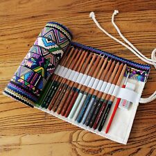 Canvas Pen Roll Up Bag Curtain 36 Holes Pencil Case Ball Pen Box Stationery