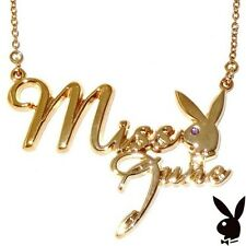 Playboy Necklace MISS JUNE Bunny Logo Pendant Gold Plated Playmate BIRTHDAY GIFT
