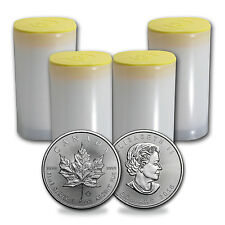 2016 Canada 1 oz Silver Maple Leaf Coins BU (Lot of 100, Four Rolls / Tubes)