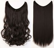 US Long Real Straight Curly Wire Headband Clip In Hair Extensions As Human Hair